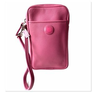Coach Pink Leather Zip Wristlet Pouch